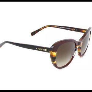Coach Aubgn Navy Tort Varsity Stripe Sunglasses